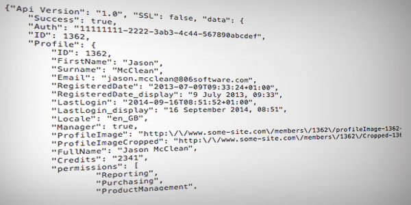 JSON encoded content - seriously, no that isn't a real authentication code